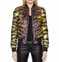 Reversible Tiger Jacquard Bomber Jacket by Faith Connexion in Empire
