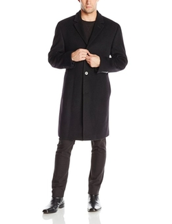 Plaza Solid Single-Breasted Wool-Blend Overcoat by Calvin Klein in American Ultra