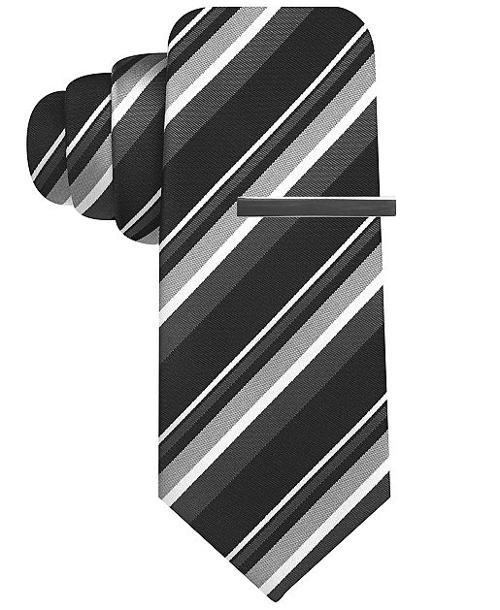 Frank Stripe Slim Tie by Alfani RED in Million Dollar Arm