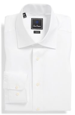 Trim Fit Solid Dress Shirt by David Donahue in Life