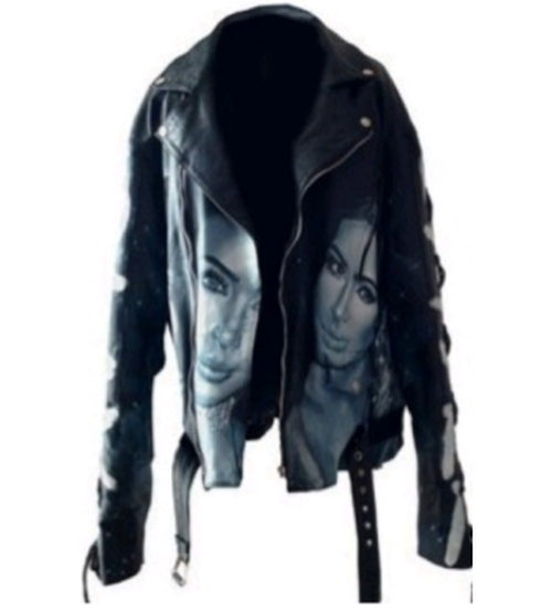 Custom Made Leather Slay And Face Printed Jacket by Blue Blank in Keeping Up With The Kardashians - Season 12 Episode 6