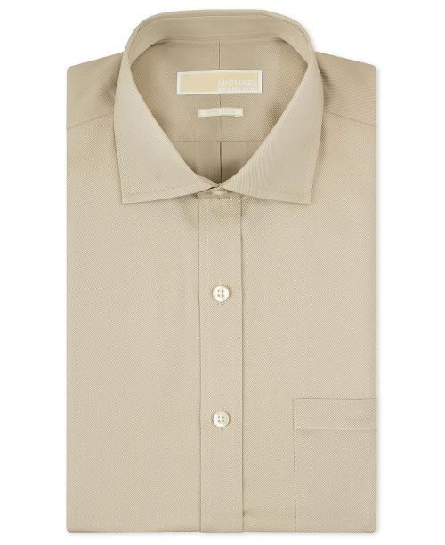 Non-Iron Beige Solid Dress Shirt by Michael Kors in Jersey Boys