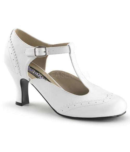 White T-Strap Mary Jane Kitten Heels by Unique Vintage in Clueless