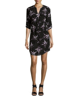 Long-Sleeve Floral-Print Silk Shirtdress by Rebecca Taylor in New Girl