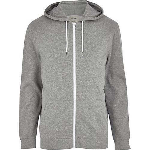 Marl Zip Through Hoodie by River Island in Chronicle