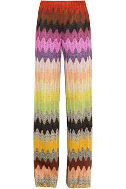 Metallic Crochet-Knit Wide-Leg Pants by Missoni in Empire