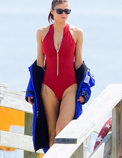 Custom Made Lifeguard One Piece Swimsuit by Dayna Pink (Costume Designer) in Baywatch