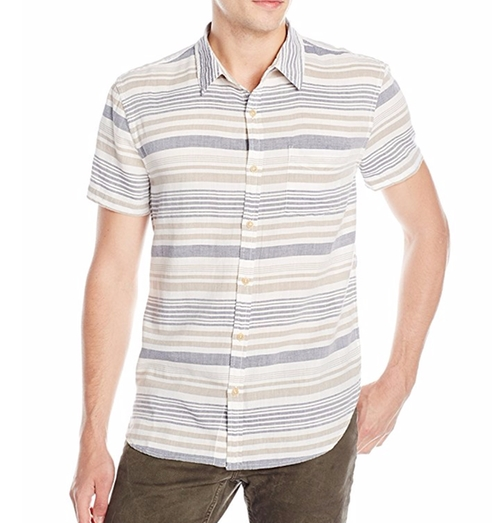 Men's Short-Sleeved Verrigated Striped Button Down Shirt by Lucky Brand in Modern Family