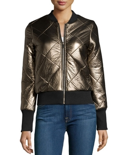 Metallic Quilted Faux-Leather Zip-Front Jacket by John & Jenn in Scream Queens