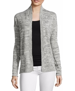 Light Grey Linen Blend Marled Knit Open Front Cardigan by Wyatt in Creed