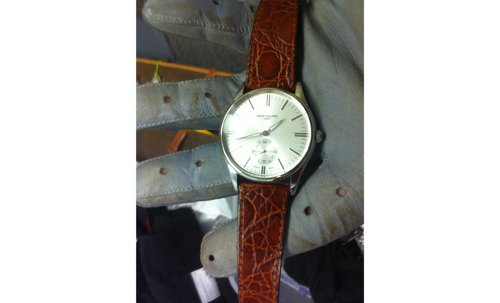 Custom Made Patek Philippe Replica Watch with Brown Leather Strap by Will Blount (Prop Master) in Drive