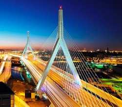 Boston, Massachusetts by Leonard P. Zakim Bunker Hill Memorial Bridge in Ted