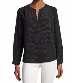 Carita Pin-Dot Silk Shirt by Joie in Billions