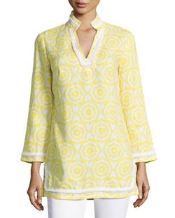 Printed Contrast-Trim Tunic by Sail To Sable in The Mindy Project