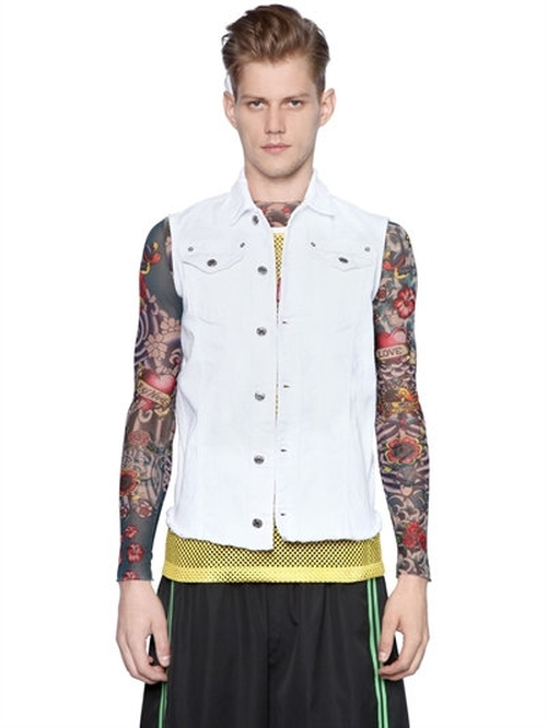 Cotton Denim Vest With Raw Cut Hem by Dsquared2   in xXx: Return of Xander Cage