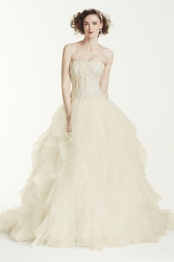 Strapless Ruffled Skirt Wedding Dress by Oleg Cassini in New Girl