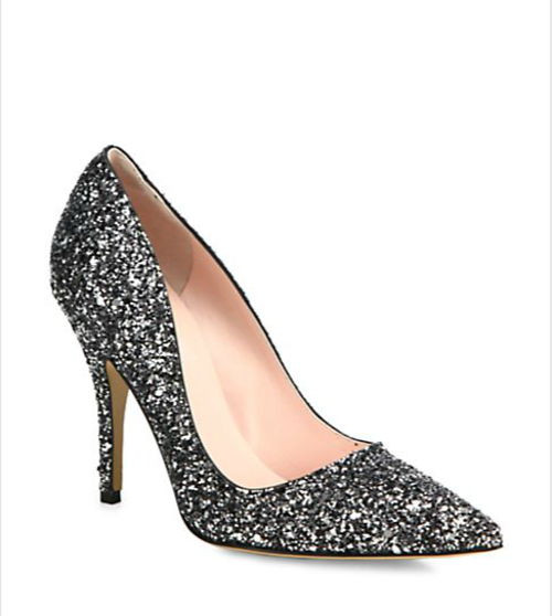 Licorice Glitter Leather Pumps by Kate Spade New York in The Other Woman