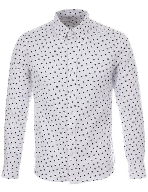 Star Pattern Printed White Casual Shirt by Flatseven in Let's Be Cops