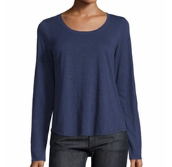 Long-Sleeve Organic Slub Jersey Tee by Eileen Fisher in Animal Kingdom