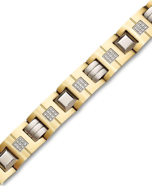 Men's Stainless Steel Bracelet, Diamond Link by Macys in Get On Up