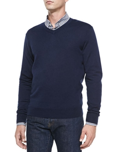 Cashmere-Silk V-Neck Sweater by Neiman Marcus	 in Ballers