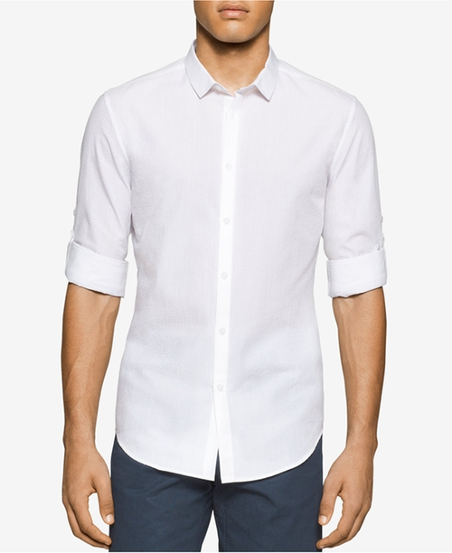 Men's Slim-Fit Seersucker Long-Sleeve Shirt by Calvin Klein in Fast Five