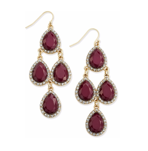 Wine Stone and Pavé Chandelier Earrings by INC International Concepts in Pretty Little Liars - Season 7 Episode 5