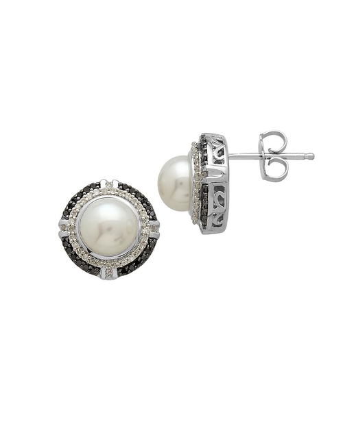 Pearl And Diamond Silver Stud Earrings by Lord & Taylor in Sex and the City