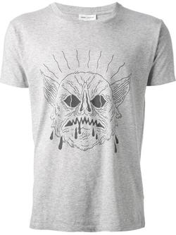 Bat Print T-Shirt by Saint Laurent in Ballers