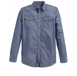 Men's Long-Sleeve Chambray Shirt by American Rag in Suits
