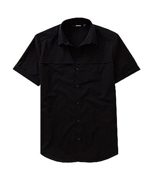 Short-Sleeve Slim Solid Front Pocket Shirt by Murano in Ride Along 2