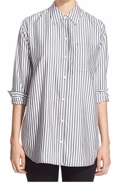 Daddy Ticking Stripe Cotton Shirt by Equipment in The Good Wife
