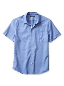 Tailored Slim-Fit Pique Short-Sleeve Shirt by Banana Republic in Love & Mercy