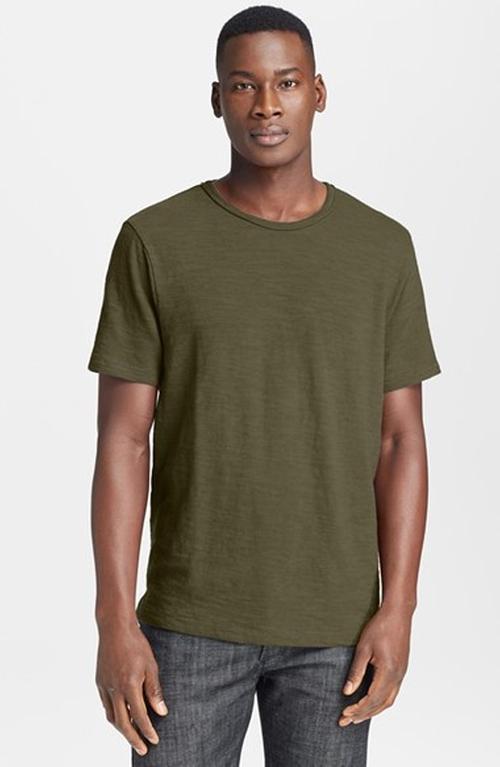 Slubbed Cotton T-Shirt by Rag & Bone in Black Mass