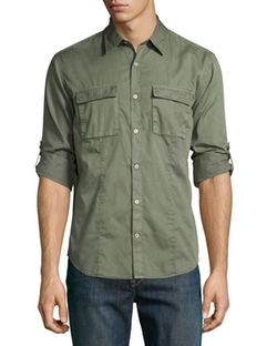 Chino Roll-Tab Utility Shirt by John Varvatos Star USA  in Brooklyn