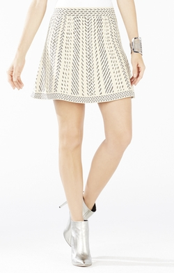 Queeny Knit Jacquard A-Line Skirt by BCBGmaxazria in The Mindy Project