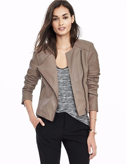 Collarless Leather Jacket by Banana-Republic in Rosewood