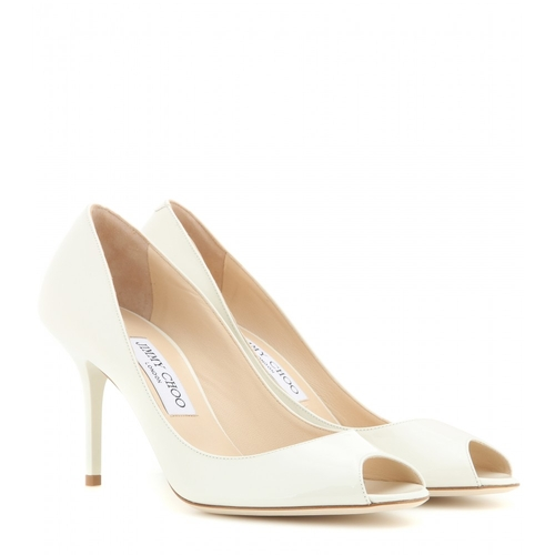 Evelyn Patent Leather Peep-Toe Pumps by Jimmy Choo in Bridesmaids