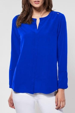 Silk Long-Sleeve Blouse by Ecru in Spy