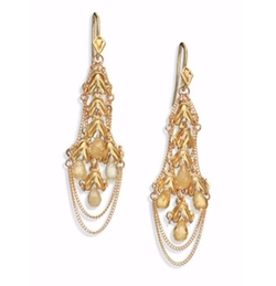 Beryl & Gold Kite Chandelier Earrings by Anthony Camargo in Empire