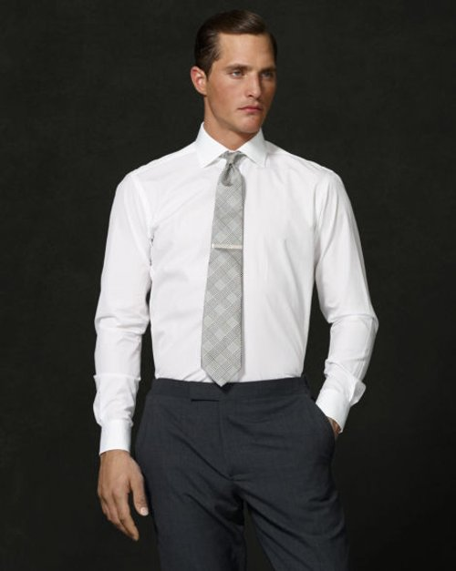 Aston Solid Poplin Dress Shirt by Ralph Lauren in Only God Forgives