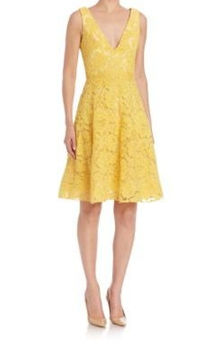 ML  A-Line Lace Cocktail Dress by Monique Lhuillier in Rosewood