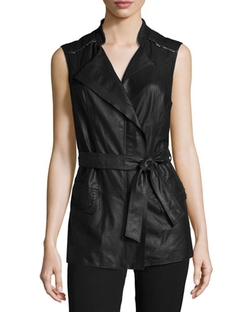 Ivette Leather Belted Vest by Kobi Halperin	 in The A-Team