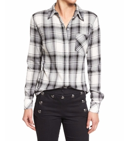 Poppy Long-Sleeve Plaid Button-Front Shirt by Veronica Beard in Animal Kingdom