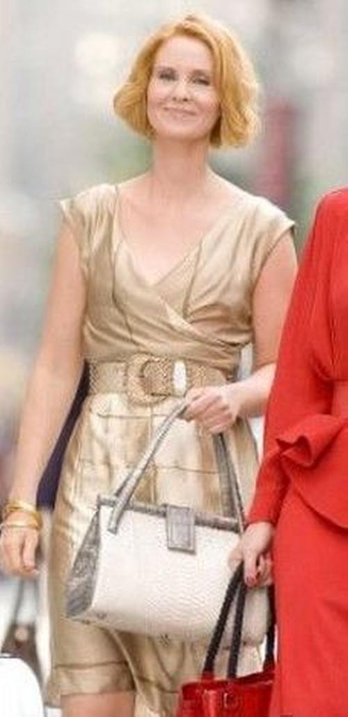 Gold V Neck Dress by Alberta Ferretti in Sex and the City