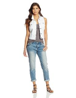 Juniors White Denim Vest by Silver Jeans Co. in St. Vincent