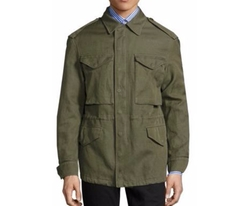 Tumbled Ramie Cotton Twill Field Jacket by Burberry in Empire