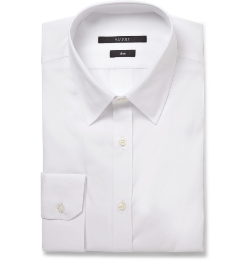 White Slim-Fit Cotton-Poplin Shirt by Gucci in The Transporter: Refueled