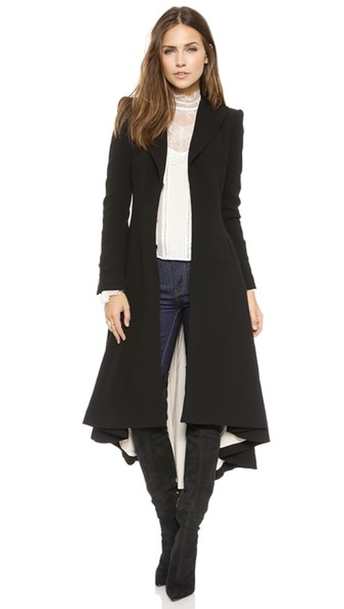 Bain Pleated Long Coat by Alice + Olivia in Elementary - Season 4 Episode 15