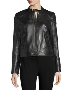 Zip-Front Leather Moto Jacket by Red Valentino in Pretty Little Liars